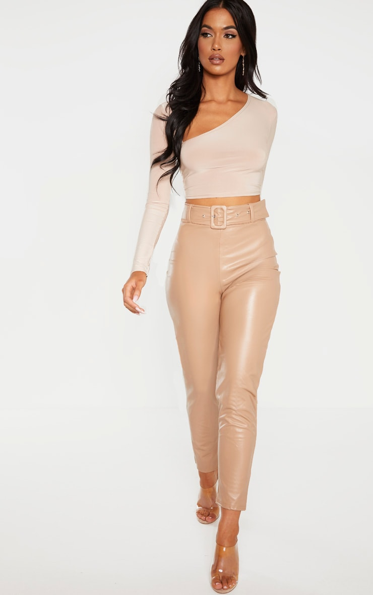 Stone Faux Leather Belted Skinny Trouser  1