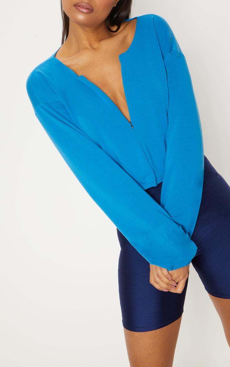 Blue Zip Front Sweater 5
