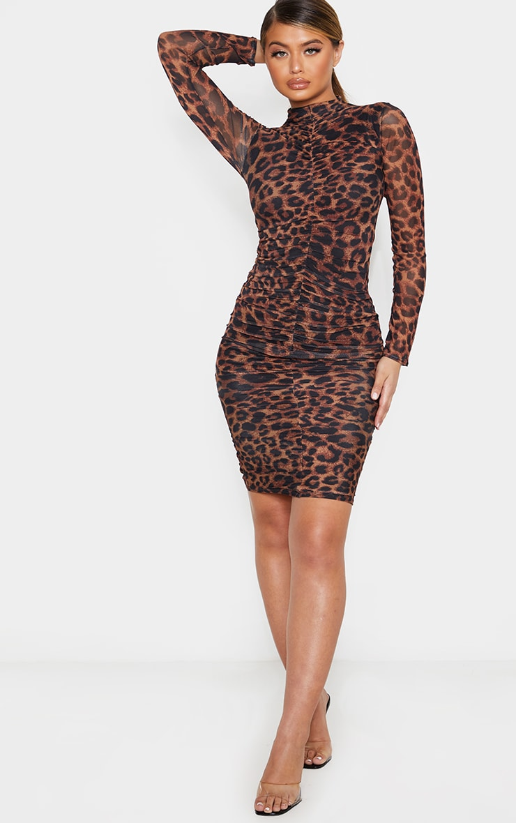 Leopard Print Ruched Mesh Midi Dress 4