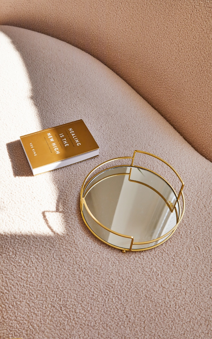 Gold Round Metal Tray With Mirror Base 2