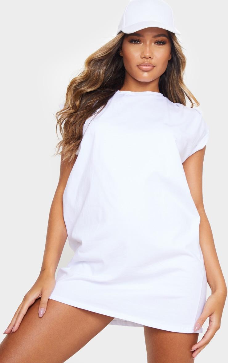 White Oversized Gathered Sleeve T Shirt Dress 1