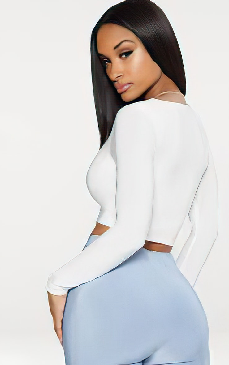 White Second Skin Square Neck Long Sleeve Crop Top 2