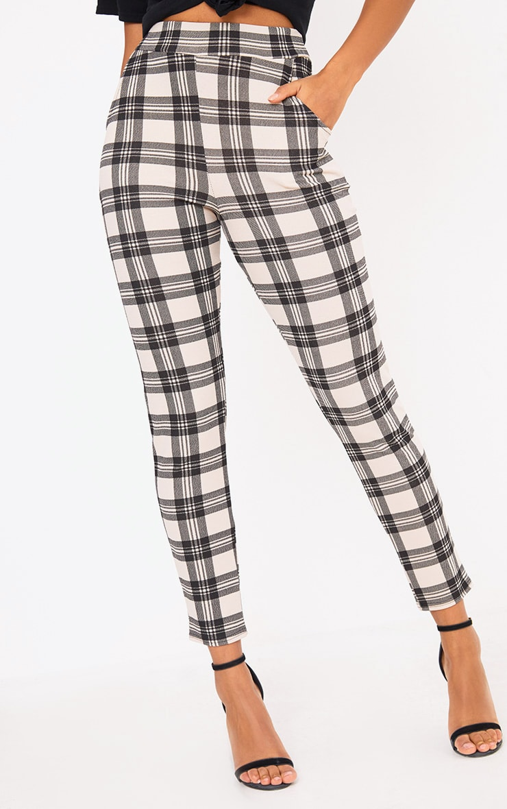 Stone Check Print Skinny Trousers 5