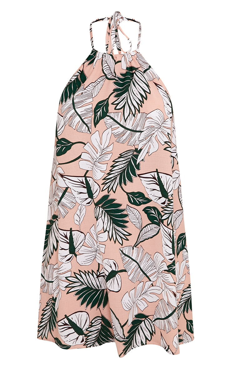 Crolia Pink Leaf Print Halterneck Shift Dress  3