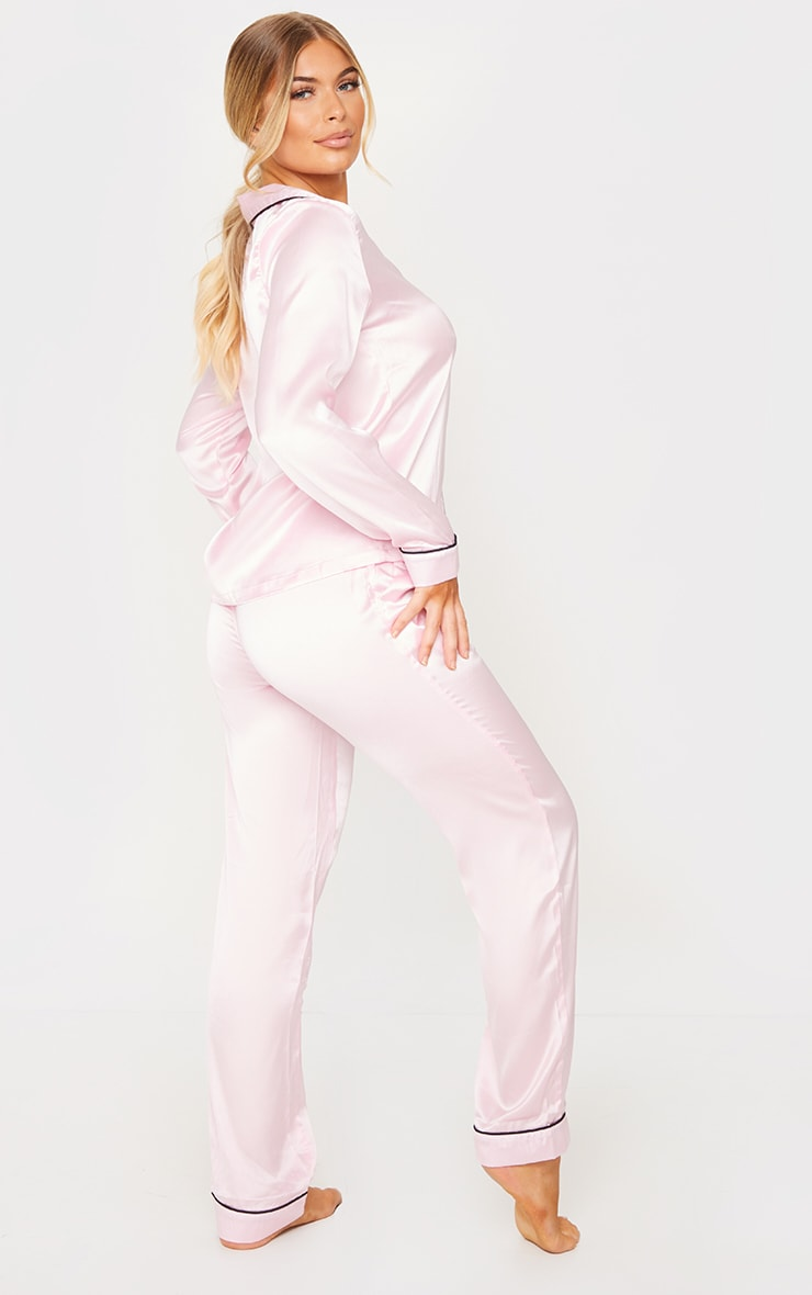 Pink Satin Pocket Long PJ Set 2
