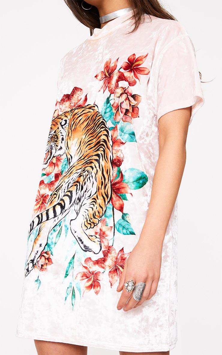 Pink Velour Tiger Print Dress 5