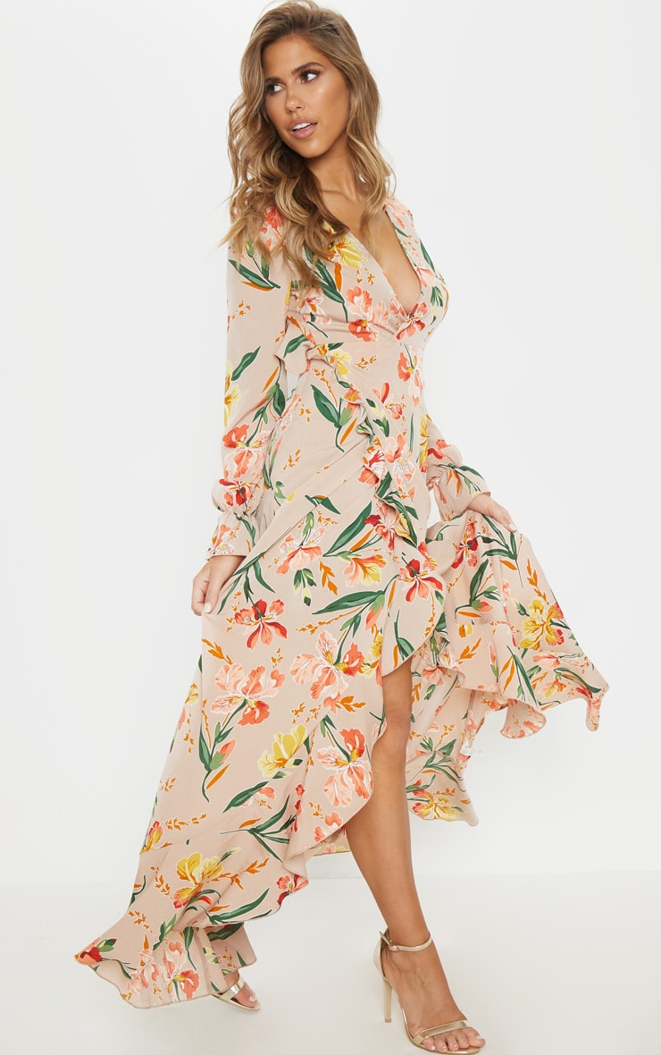 Floral Frill Detail Open Back Maxi Dress 4