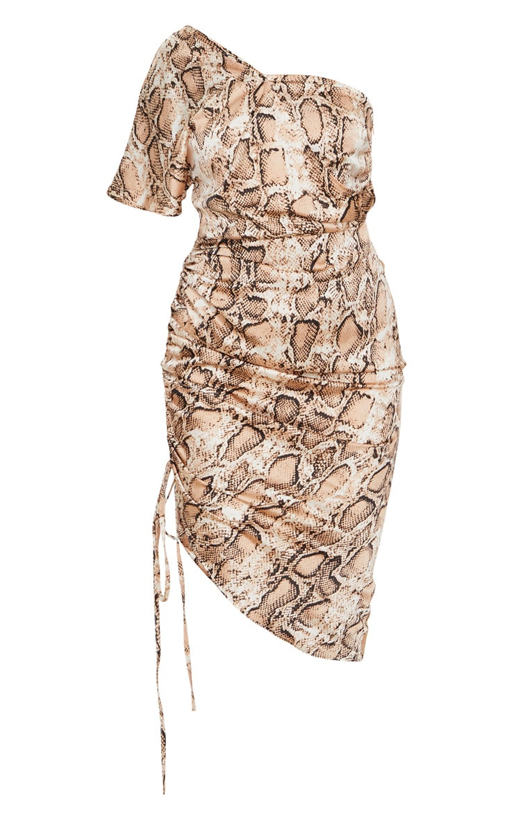 Tan Snake Print One Shoulder Ruched Side Midi Dress 5