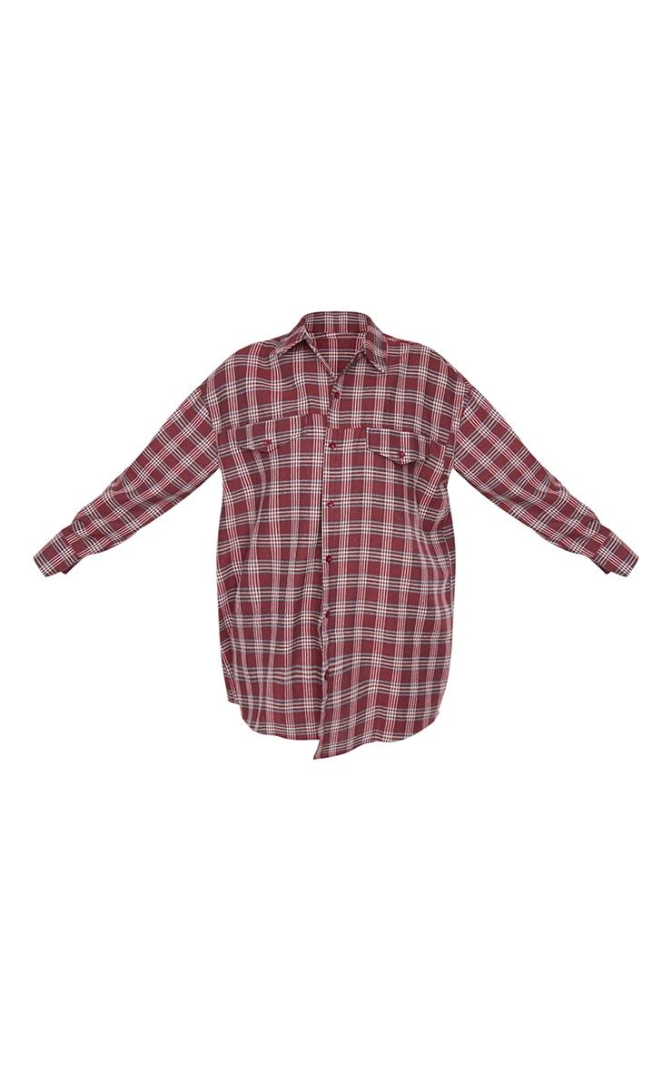 Dark Red Checked Oversized Shirt 5