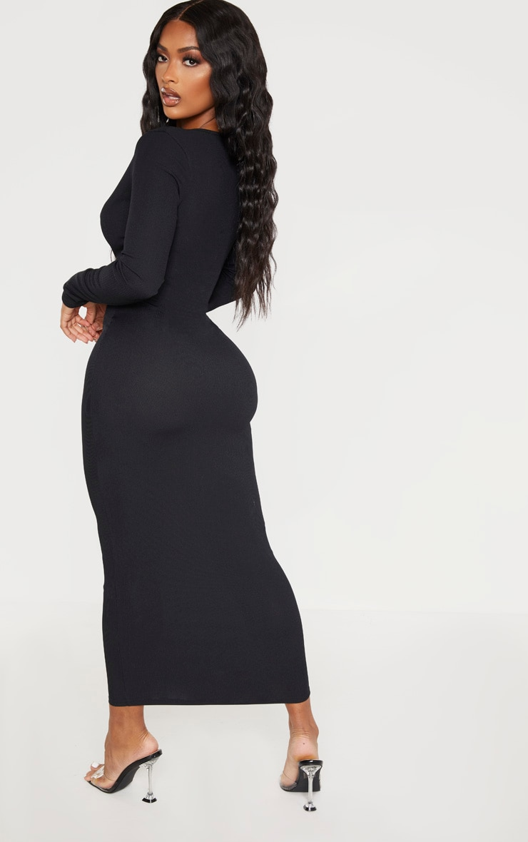 Shape Black Ribbed Button Front Long Sleeve Midaxi Dress 2