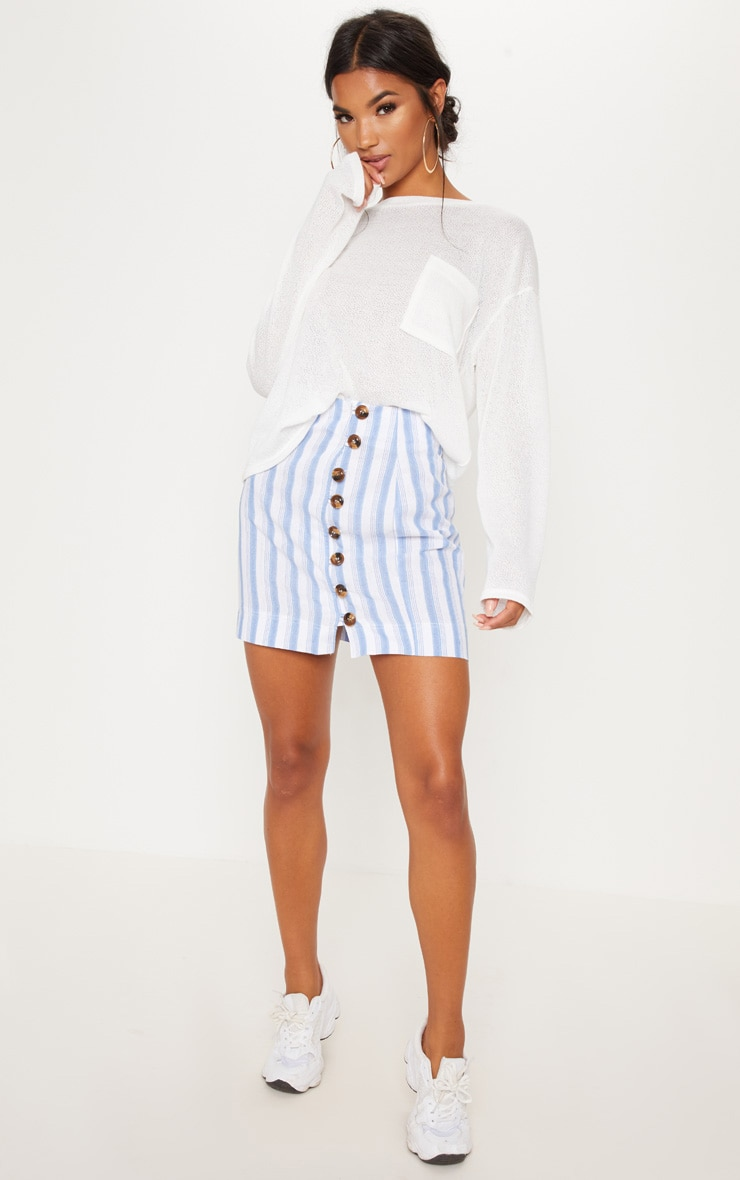 White Button Detail Linen Feel Mini Skirt