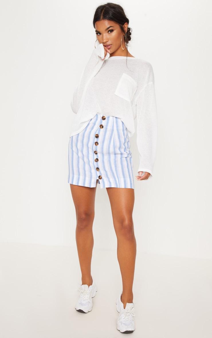 White Button Detail Linen Feel Mini Skirt