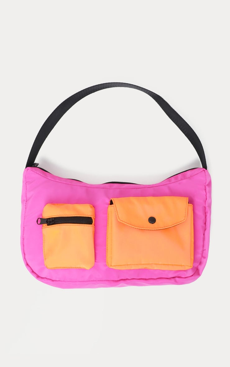 Neon Pink And Orange Double Pocket Nylon Shoulder Bag 2