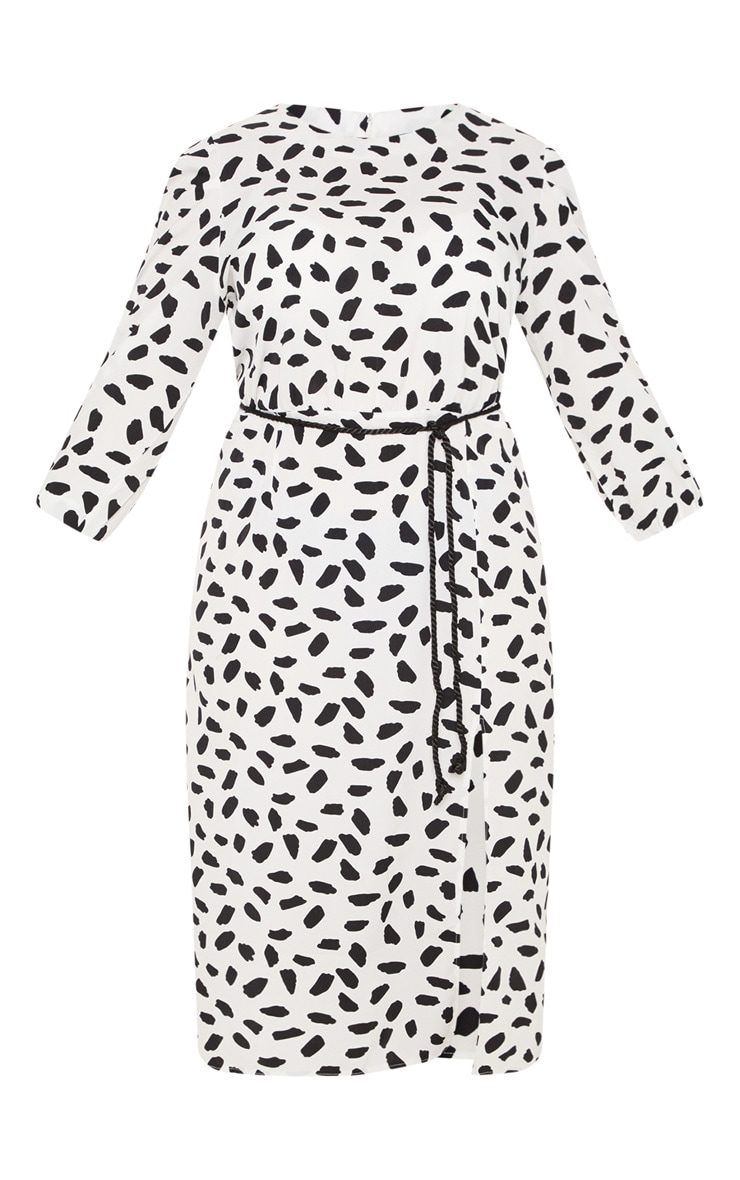 Plus White Tie Waist Dalmatian Print Midi Dress 3