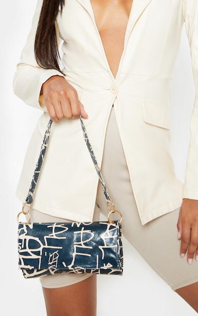 Black Script Print Shoulder Bag
