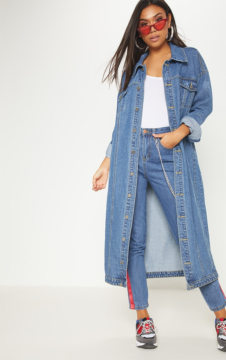 Light Wash Distressed Maxi Denim Jacket  4