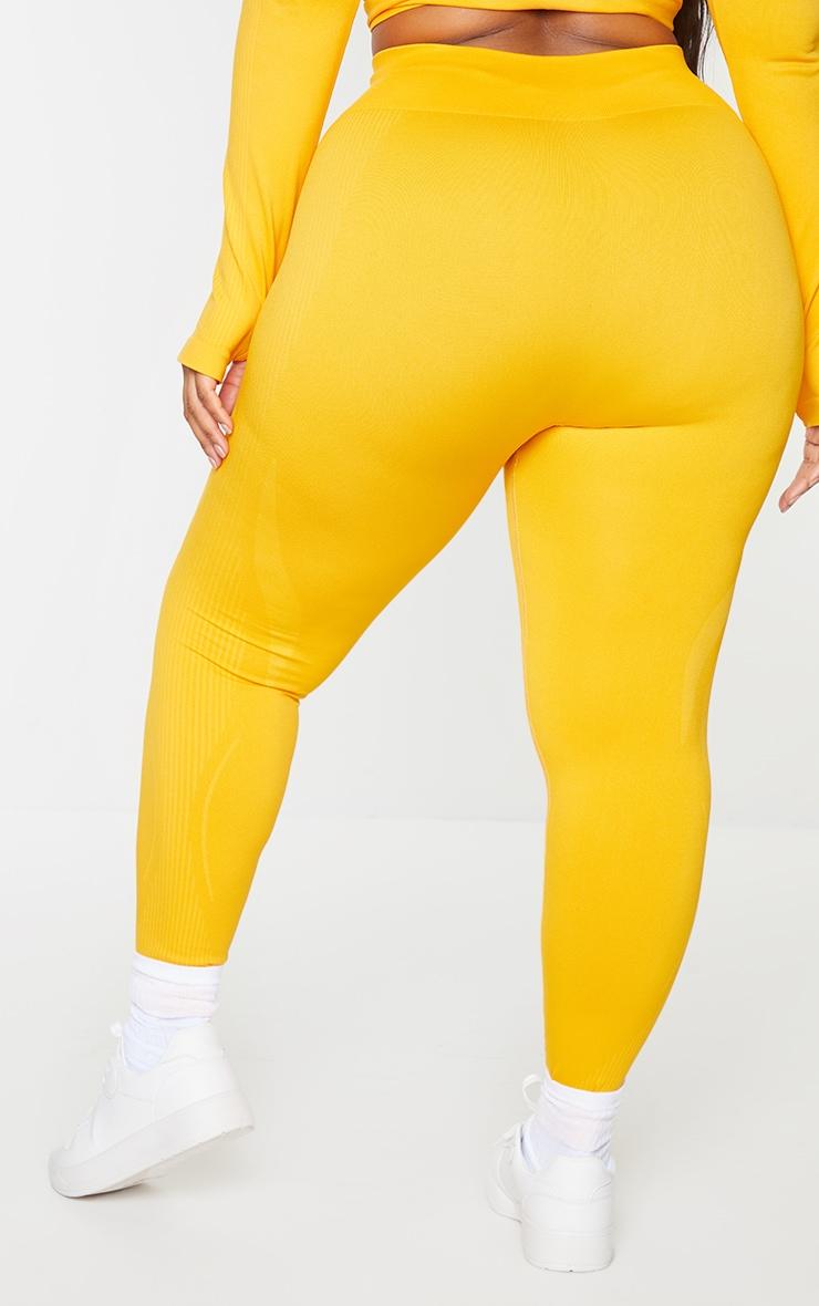 Plus Orange Basic Detail Seamless High Waist Gym Leggings 3
