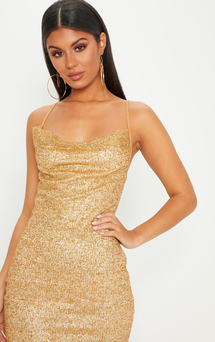 Gold Glitter Strappy Cowl Neck Bodycon Dress 5