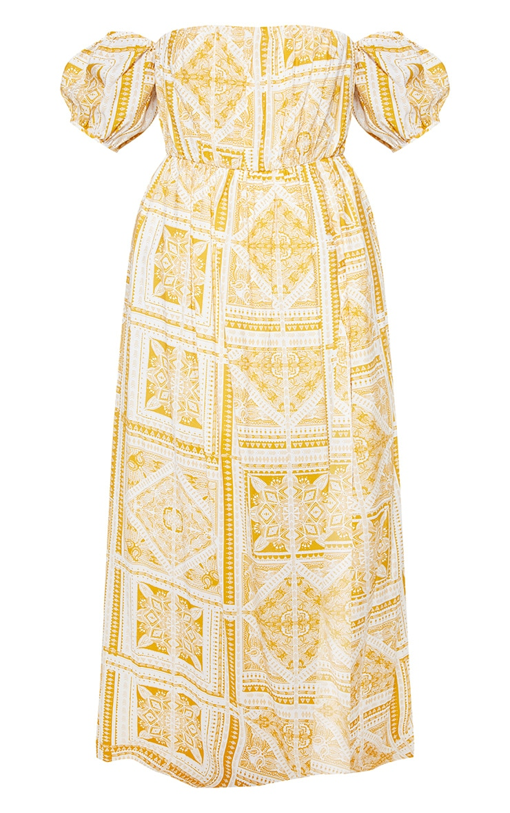 Plus Yellow Paisley Tile Print Bardot Maxi Dress 3