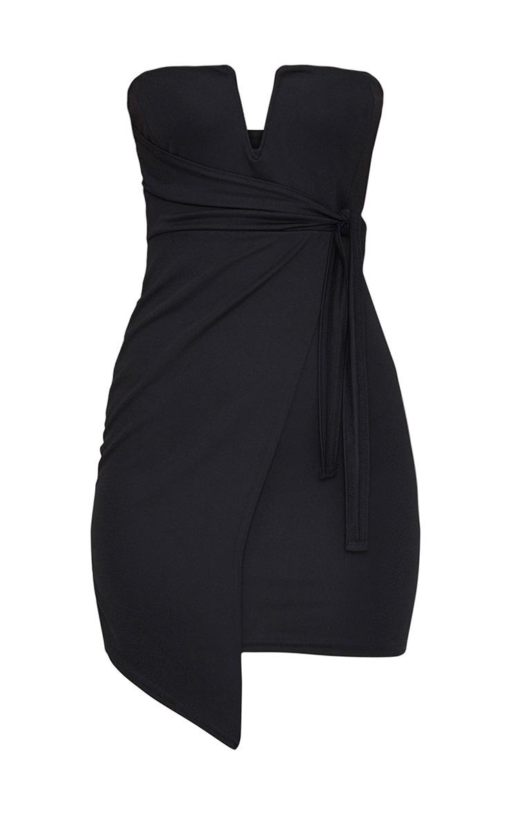 Black V Bar Bandeau Wrap Bodycon Dress 3