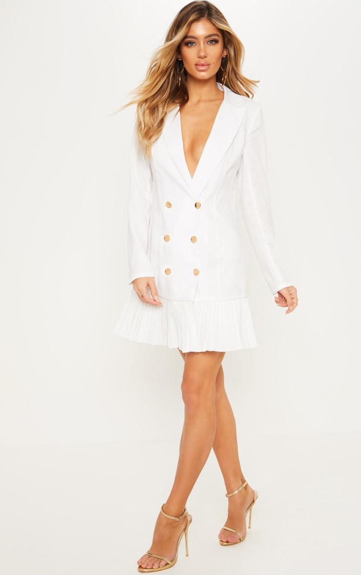 90ac7cec929 White Pleated Hem Button Detail Blazer Dress image 1