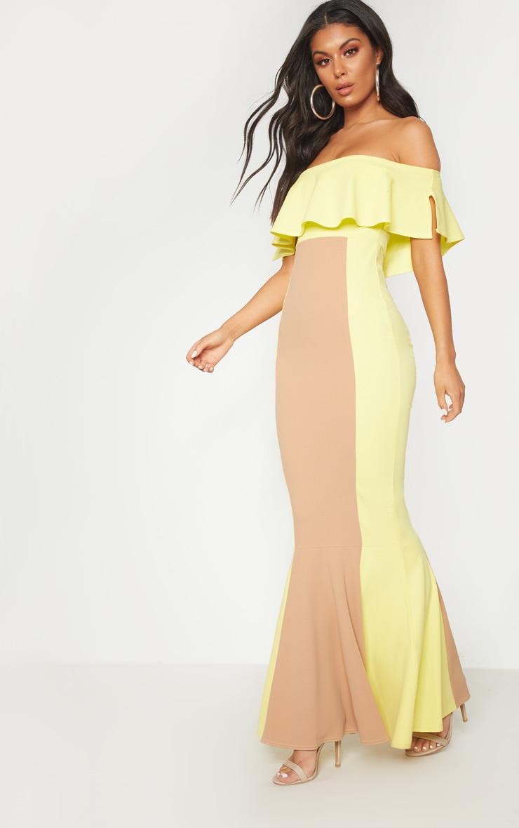 Yellow Bardot Panel Detail Contrast Fishtail Maxi Dress 4