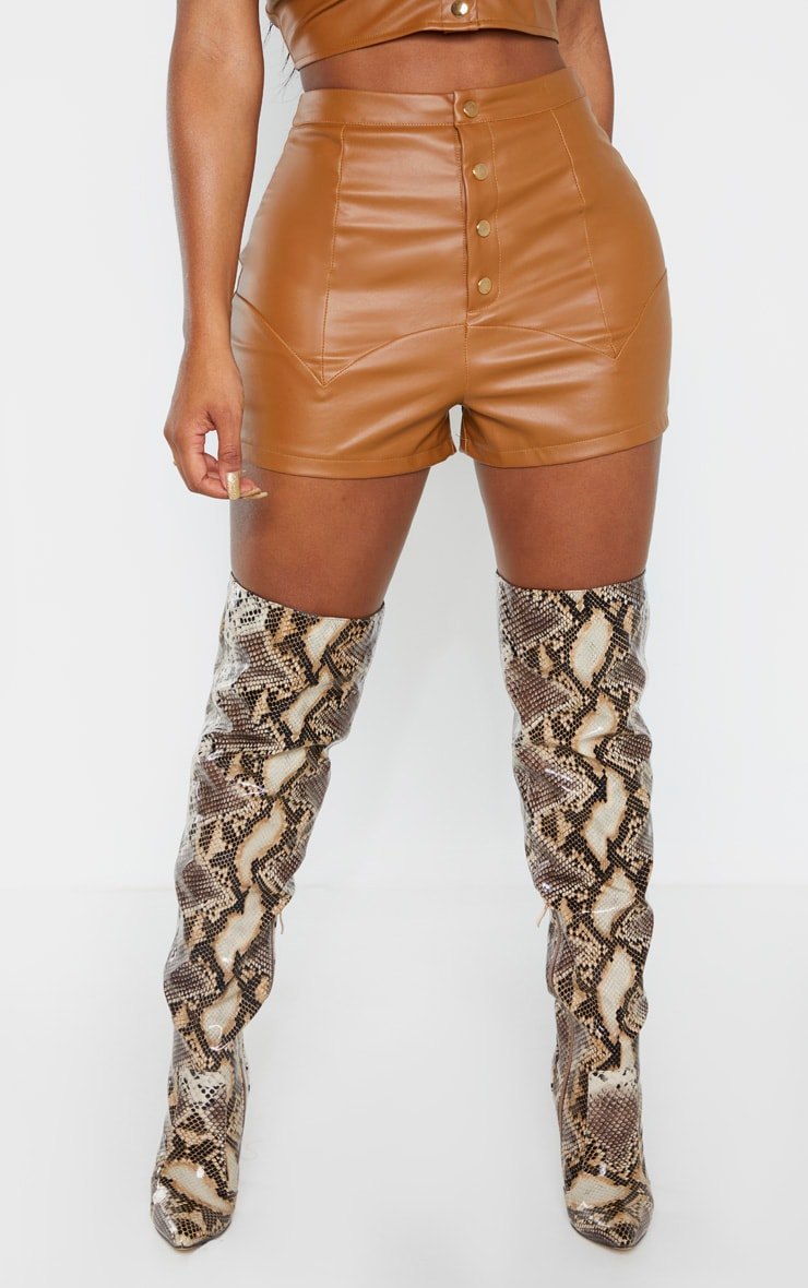 Shape Tan Faux Leather Button Front Shorts  2