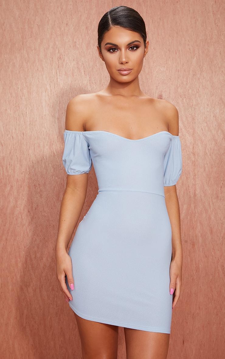 Dusty Blue Crepe Bardot Puff Sleeve Bodycon Dress 1