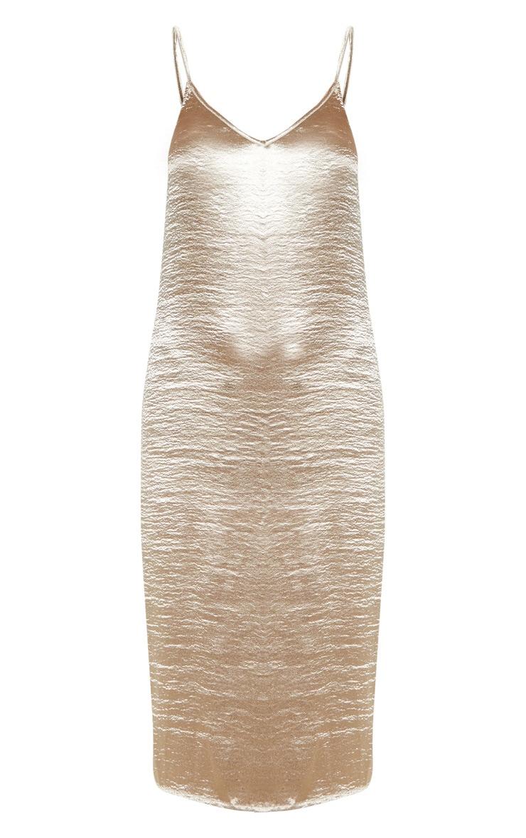 Taupe Hammered Satin Midi Dress 3