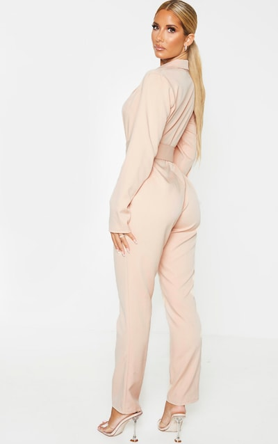 Nude Lapel Detail Belted Jumpsuit