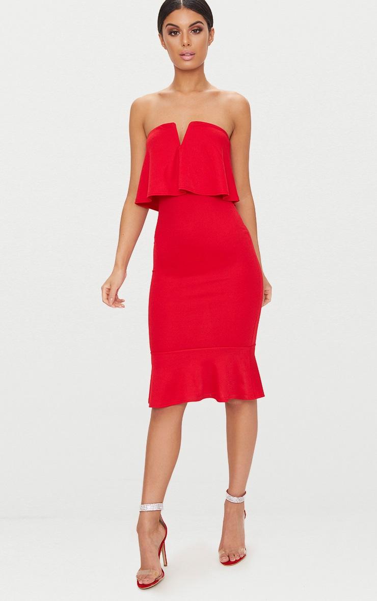 Red Bandeau V Bar Frill Hem Midi Dress 1