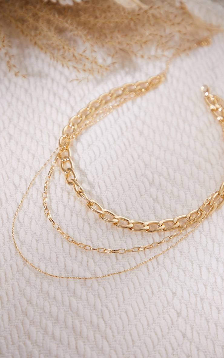 Gold Chunky Curb Chain Layering Necklace 3
