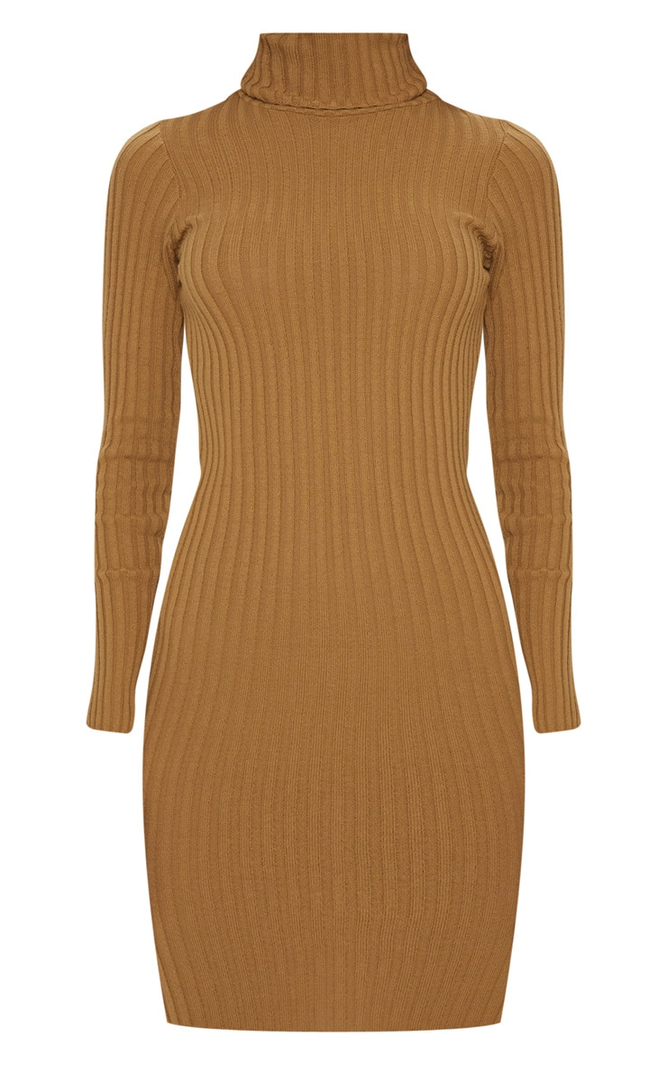 Camel Ribbed Knitted Roll Neck Dress  3