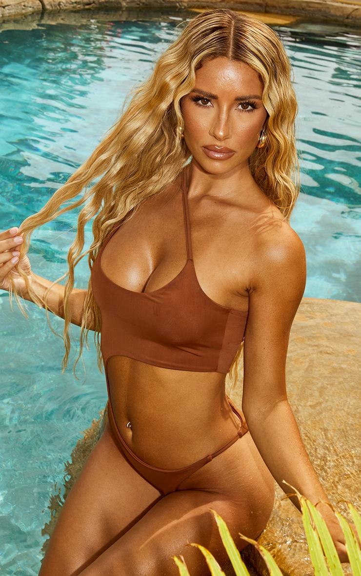 Mocha Cut Out Swimsuit 1