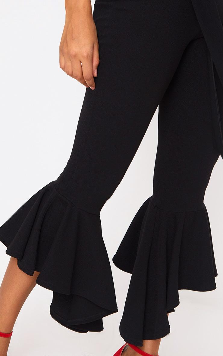 Black Hi Lo Hem Tie Waist Trousers 4