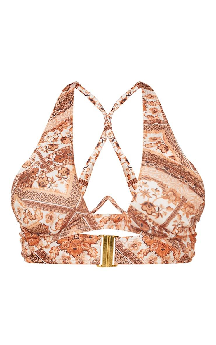 Maternity Brown Underwire Tapestry Print Halter Neck Bikini Top 5