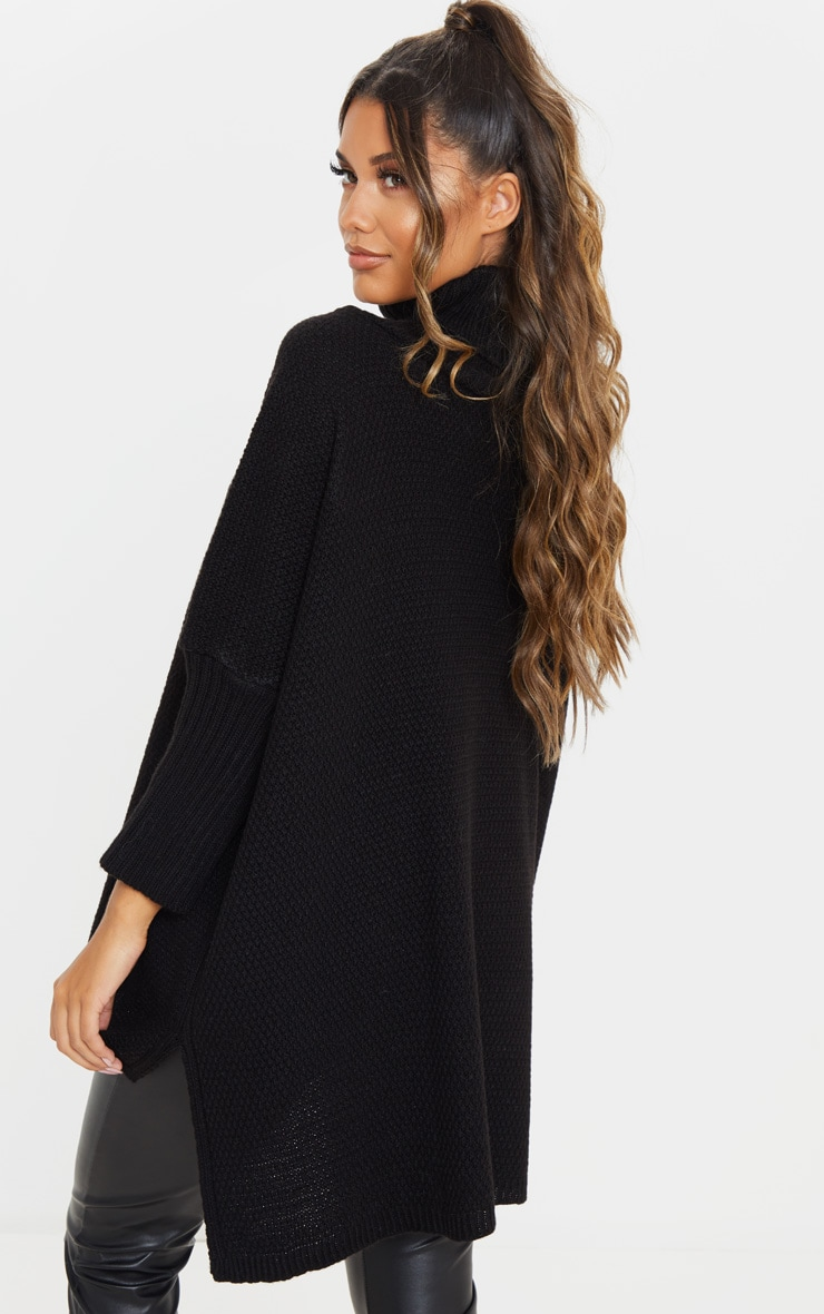 Black Oversized Slouchy Knitted Sweater 2