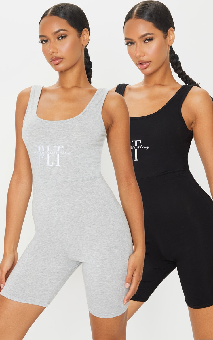 PRETTYLITTETHING Black & Grey 2 Pack Embroidered Scoop Neck Unitards 1