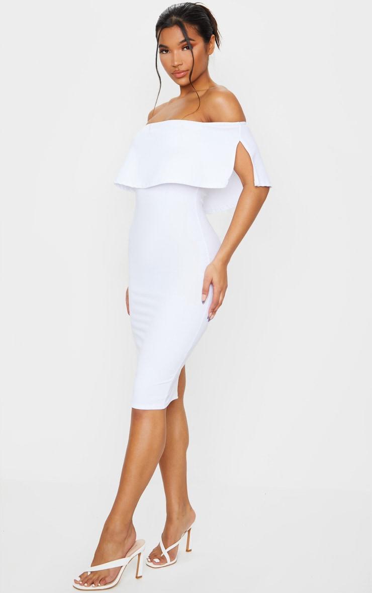 White Bardot Frill Midi Dress 3