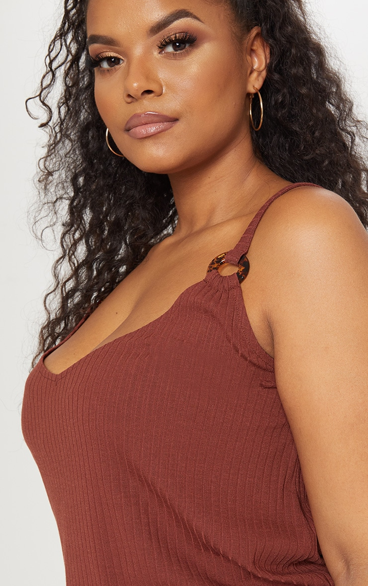 Plus Chocolate Brown Knit Tortoise Ring Cami Top 5