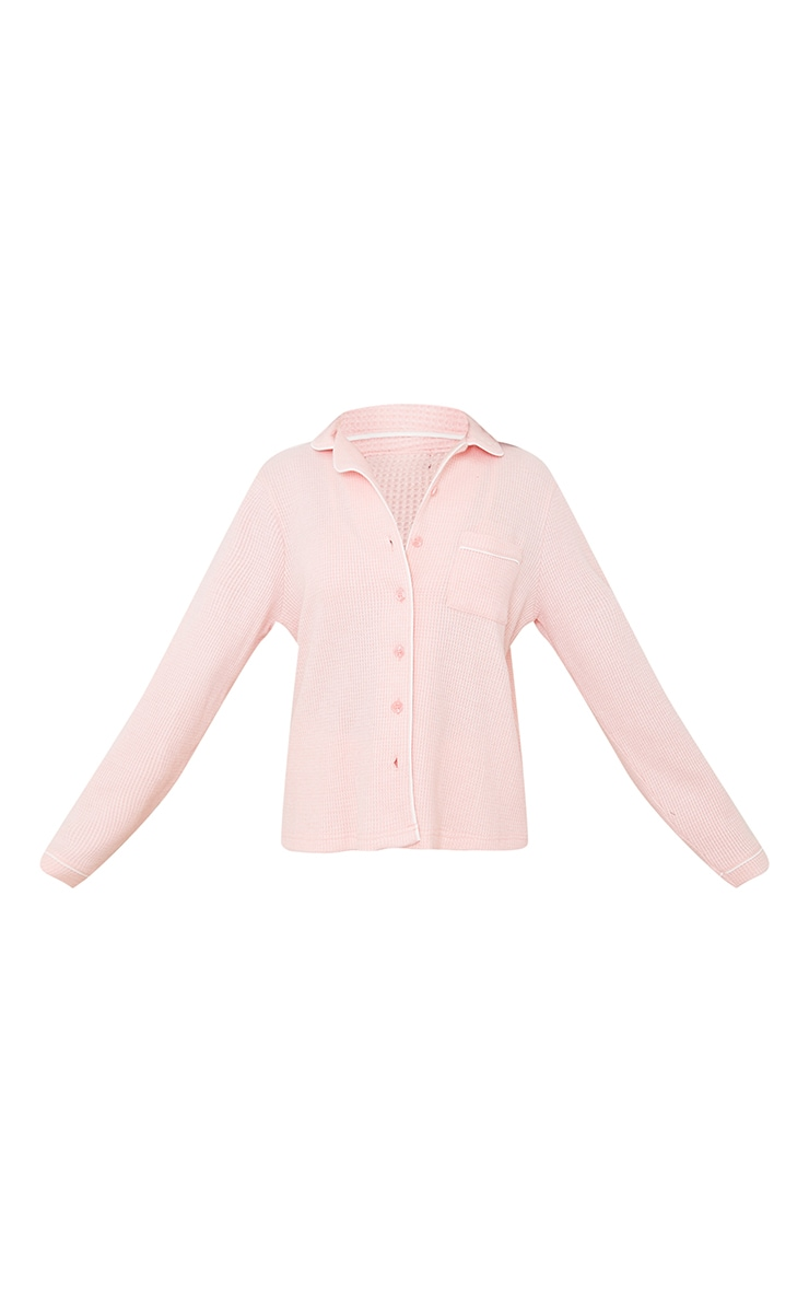 Pink Mix And Match Soft Waffle Button Down Long Sleeve PJ Top 5