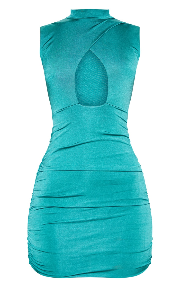 Jade Green Metallic Slinky Ruched Cut Out Bodycon Dress 3