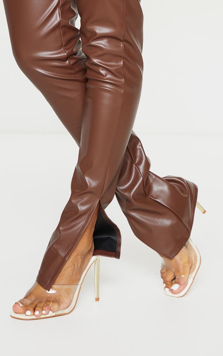 Shape Mocha PU Split Hem Trousers 4