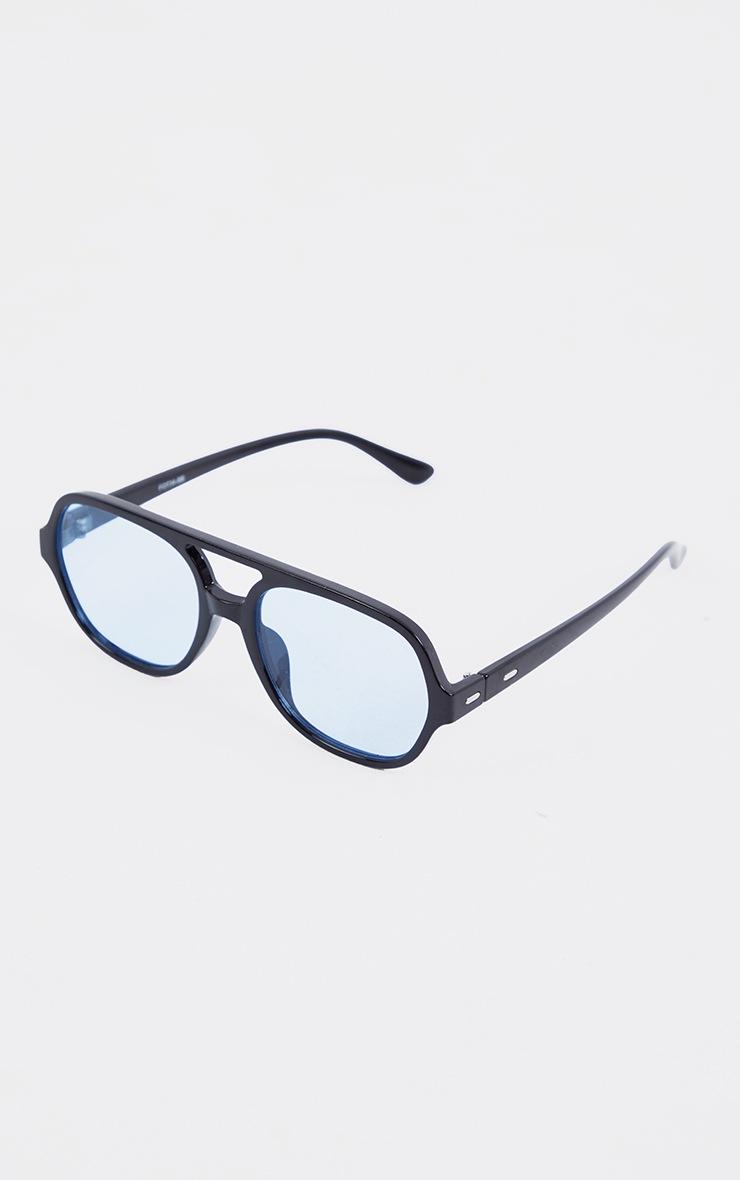 Black Plastic Frame Blue Lens Aviator Sunglasses 2