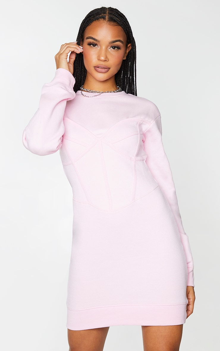 Baby Pink Binding Bust Corset Detail Sweater Dress 1