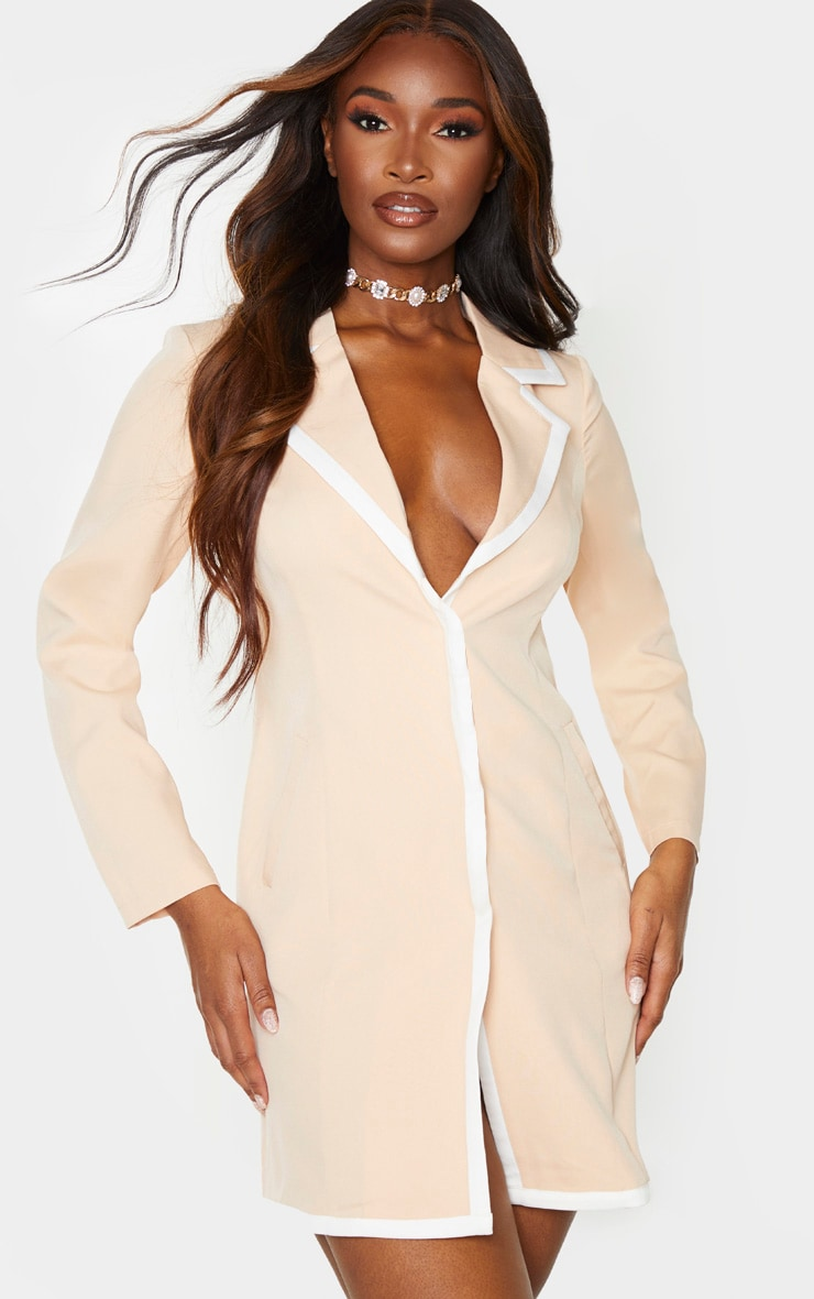 Nude Contrast Lapel Detail Blazer Dress 1