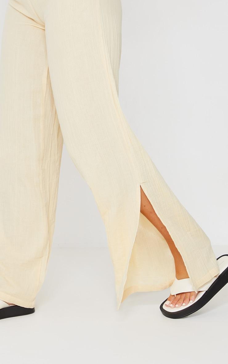 Beige Textured Cotton Split Hem Wide Leg Pants 4