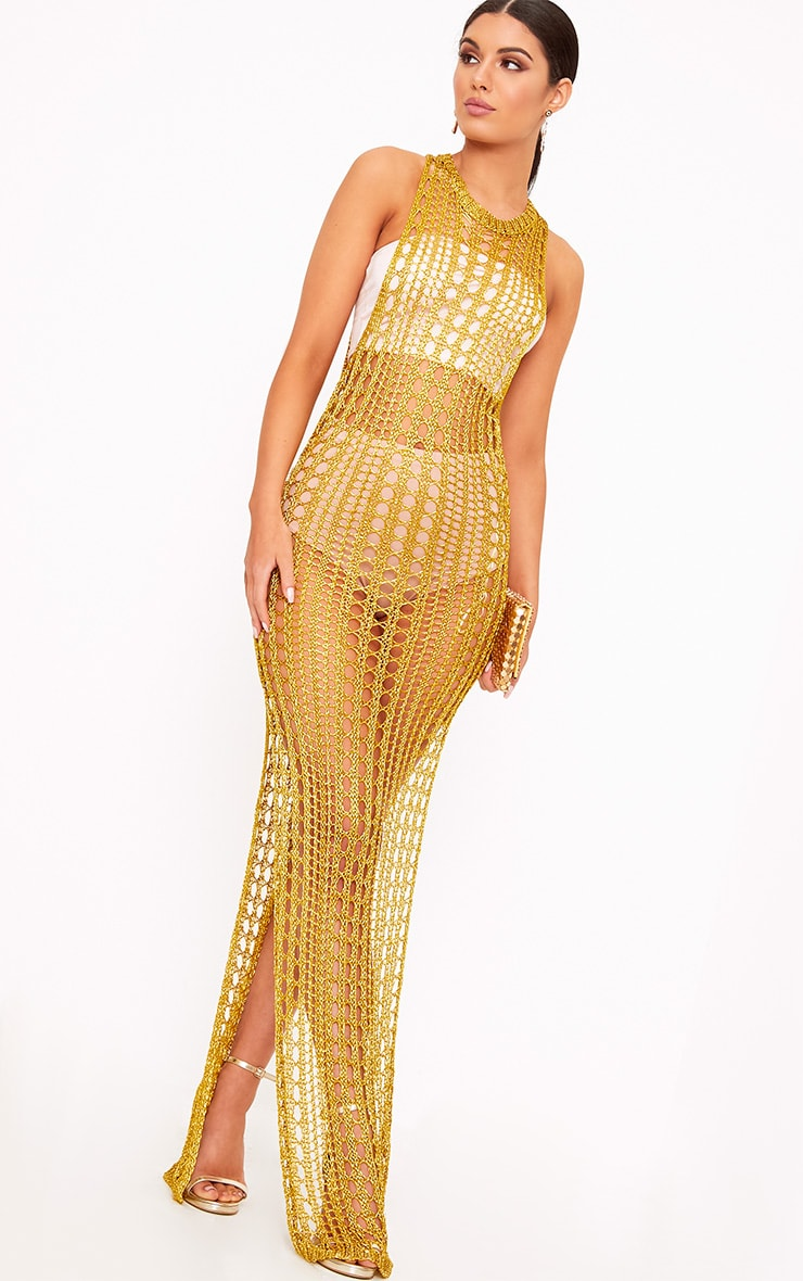 Elissa Gold Metallic Open Knit Maxi Dress 4