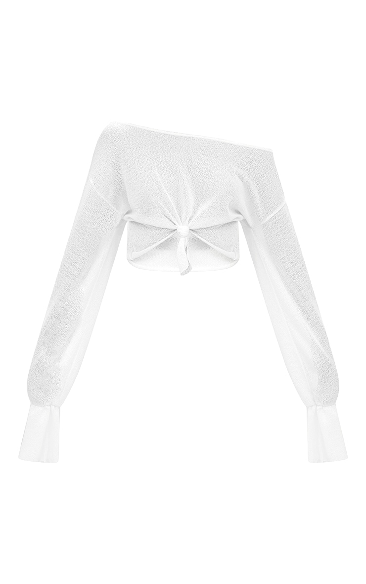 White Lightweight Knit Off The Shoulder Crop Top  3