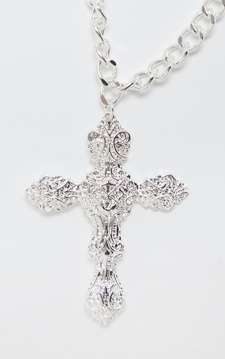 Silver Oversized Ornate Cross Chain Choker 4